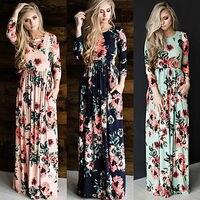 Для женщин ретро Boho Цветочный цветы с длинным рукавом платье вечернее длинное пляжное платье