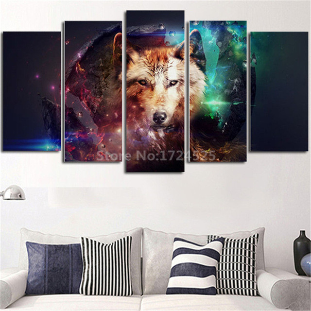 2017 Sale Direct Selling 5 Pcs Colorful Wolf Wall Pictures Decorative Home Painting Modern Animal Art Canvas For Living Room
