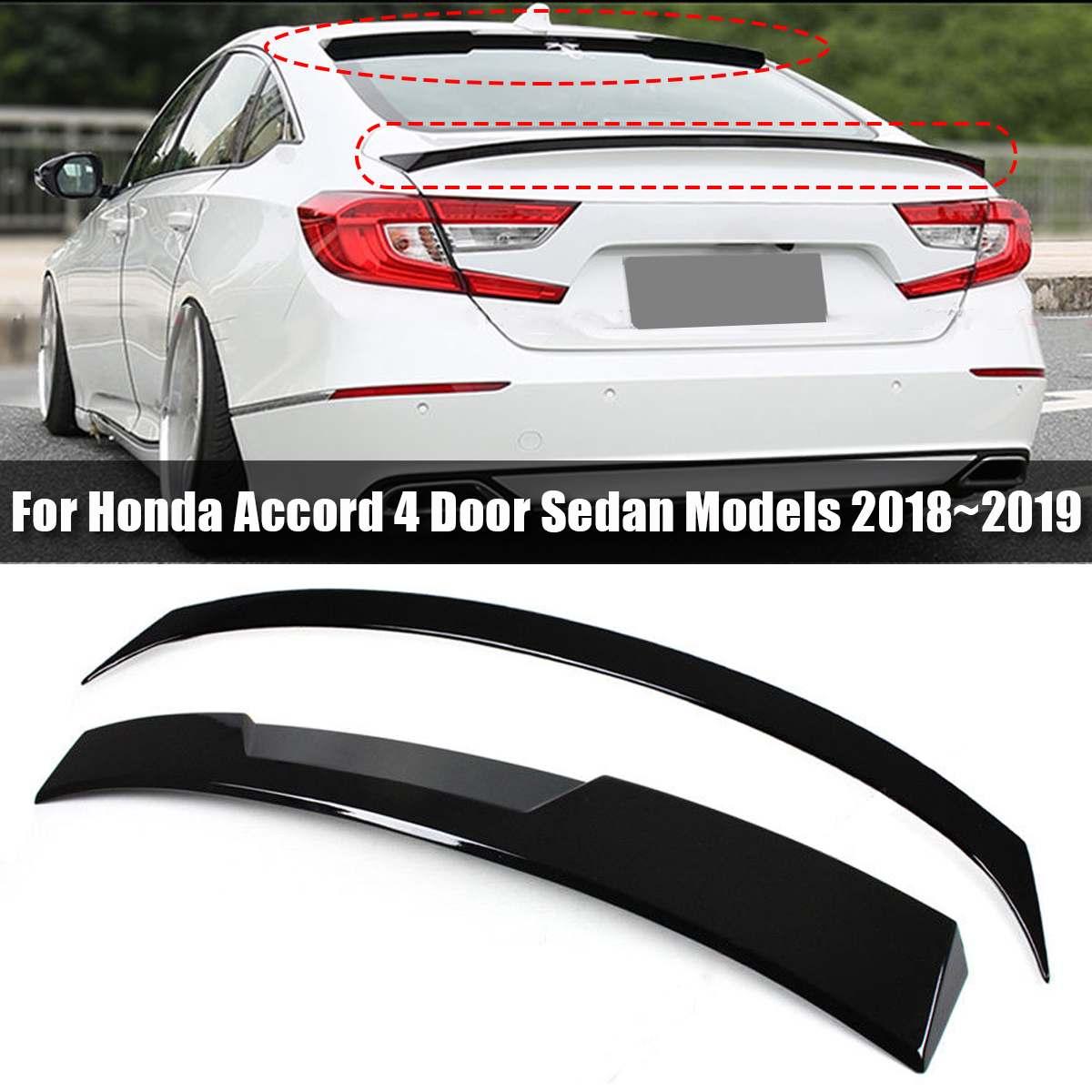 Черный автомобиль крыло багажника спойлер + заднее окно спойлер на крыше для HONDA для ACCORD 2018 ~ 2019 внешние части спойлер
