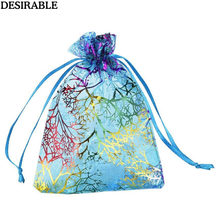 50 Pcs Wedding Christmas Gift Pouches Beam port Organza Jewelry Candy Sachet Packaging Bags Birthday Event Party Decoration bag(China)