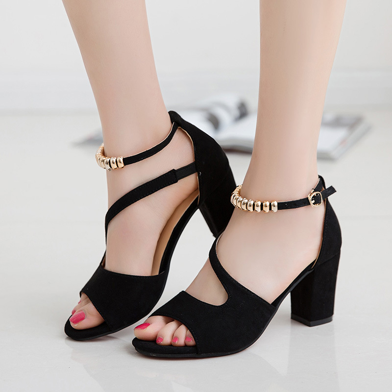 Women Summer Word Buckle Suede Sandals Lady Chunky Heel Sandals Suede High Heels faux suede ruffle chunky heels mauve