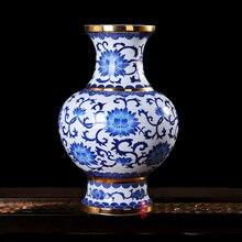Jingdezhen ceramics gold blue and white vase flower lotus Jin Zhongping modern fashion decoration crafts
