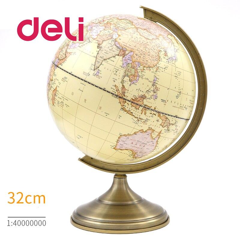 Deli LED monde terre Globe lumière stéréoscopique 3d carte géographie éducatif métal support idéal Miniatures cadeau gadgets de bureau