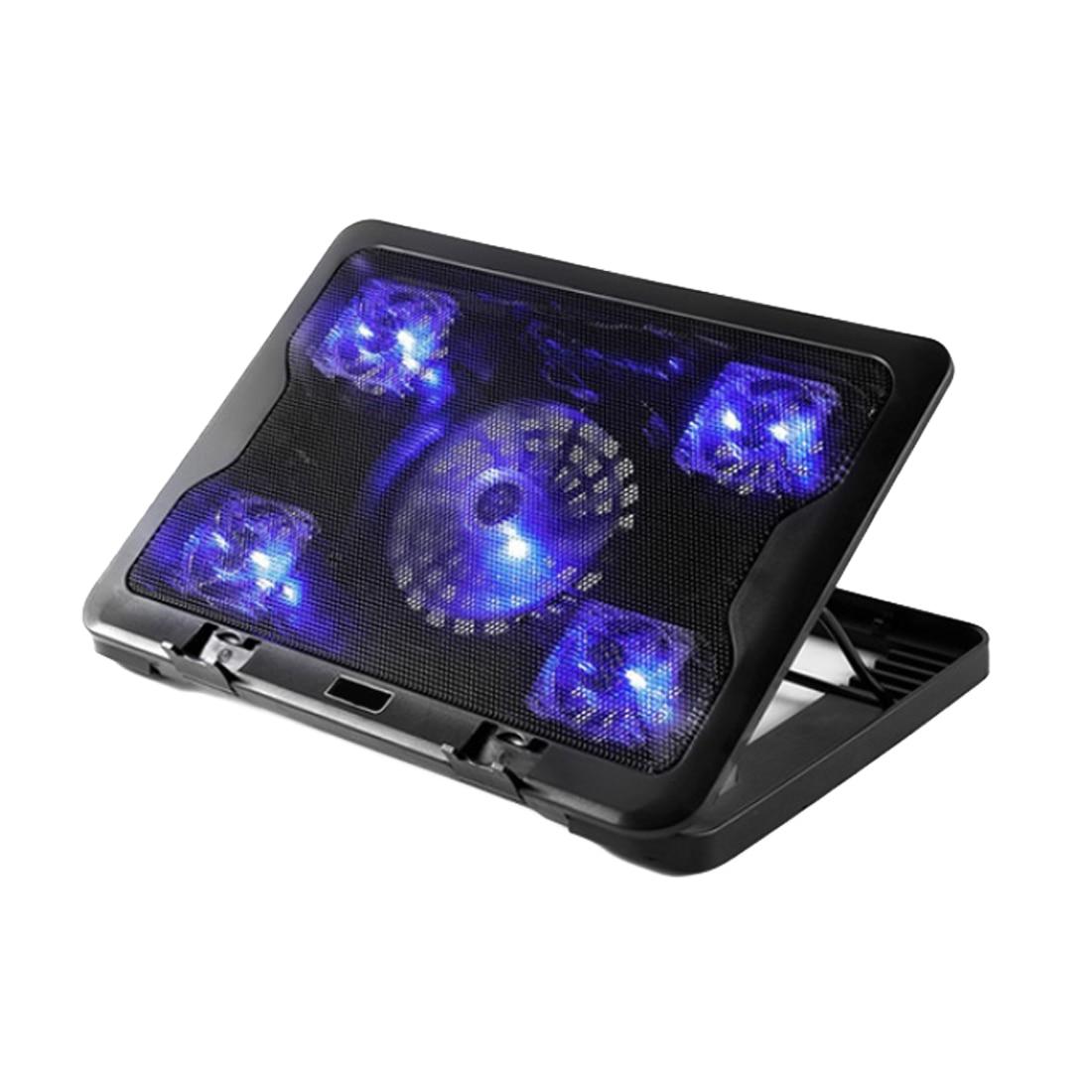 NOYOKERE marque 5 ventilateur 2 USB refroidisseur d'ordinateur portable tampon de refroidissement Base LED ordinateur portable refroidisseur ordinateur USB ventilateur support pour ordinateur portable PC Gaming 10-17