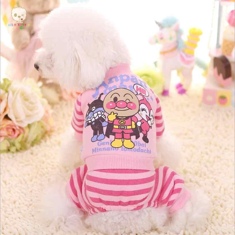Nowy pies Cartoon kombinezon paskiem dla zwierząt domowych kombinezon Puppy ochrony dziewczyna brzucha zamknięte odzież dla psów zima ciepły polar kostium XS S M L XL