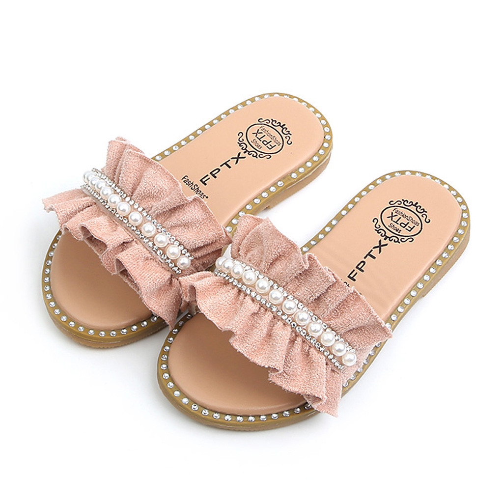 MUQGEW Kids Sandals Toddler Baby Girls Sandals Pearls Crystal Ruffles Princess Shoes Slippers Comfortable Casual Summer Shoes