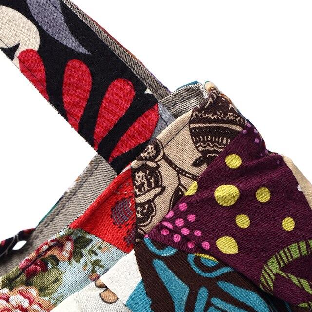 Women Shoulder Bag Cotton Fabric Handbags Adjustable Patchwork Hippie Bag Large Capacity Hobo Gypsy Bag 4