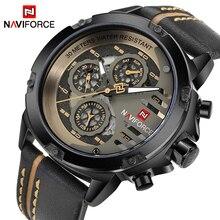 NAVIFORCE montre en cuir pour hommes, de marque de luxe, à Quartz, de Sport, Date de 24 heures, étanche, style militaire
