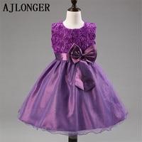 Retail New Waist Chiffon Dress Girls Toddler Flower Tutu Layered Princess Party Bow Kids Formal Dress