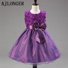 Retail 2015 New Sleeveless Waist Chiffon Dress Girls Toddler Flower Tutu Layered Princess Party Bow Kids Formal