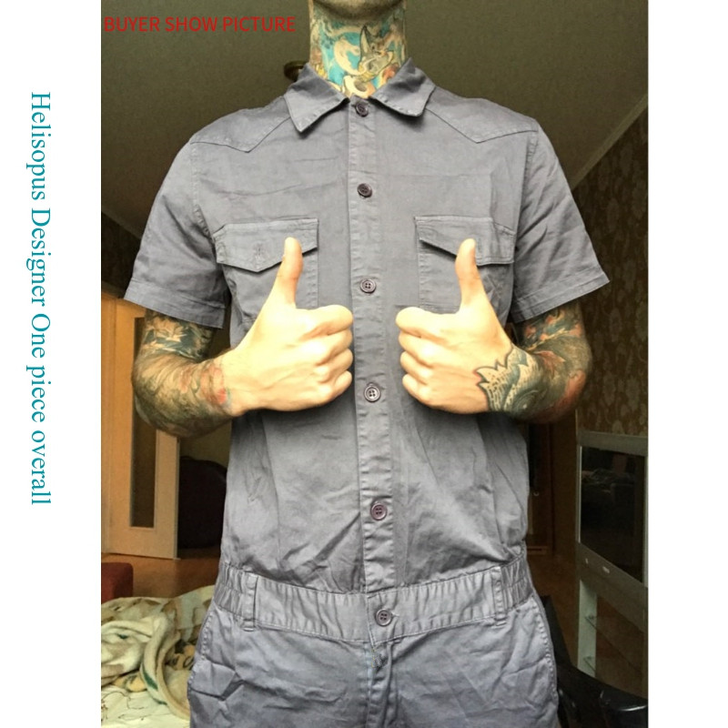 943cad0dca9 Helisopus Mens Short Sleeve Jumpsuits Cargo Work Long Pants Hip hop Male  One Piece Slim Fit Overalls Rompers Asian Size-in Overalls from Men s  Clothing on ...