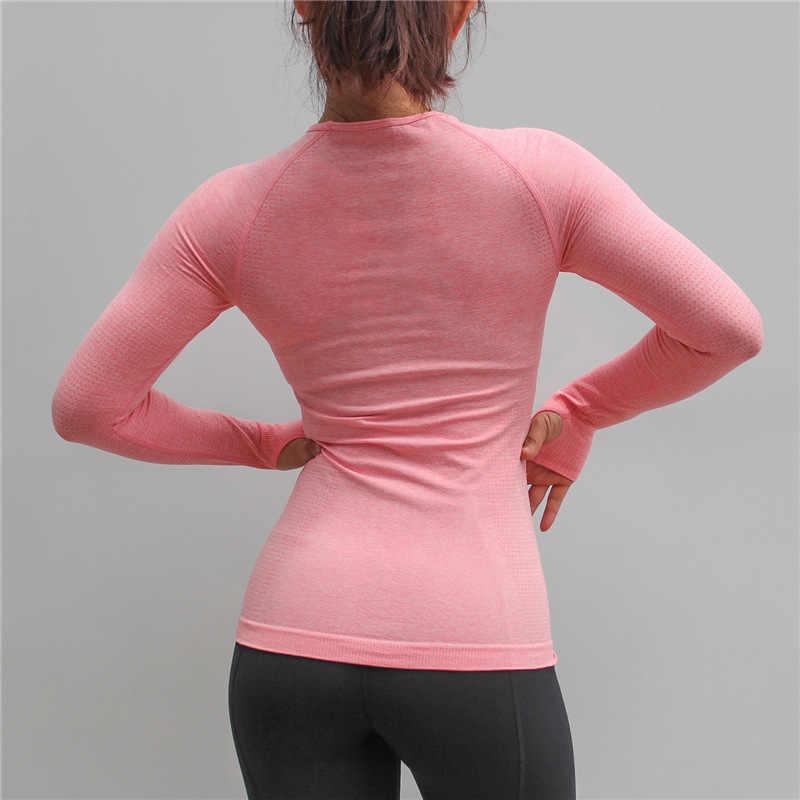 المرأة قميص رياضي للياقة البدنية النساء سلس طويلة الأكمام الصالة الرياضية جيرسي ملابس رياضية الإناث تجريب القمم تي شيرت امرأة اليوغا القمصان
