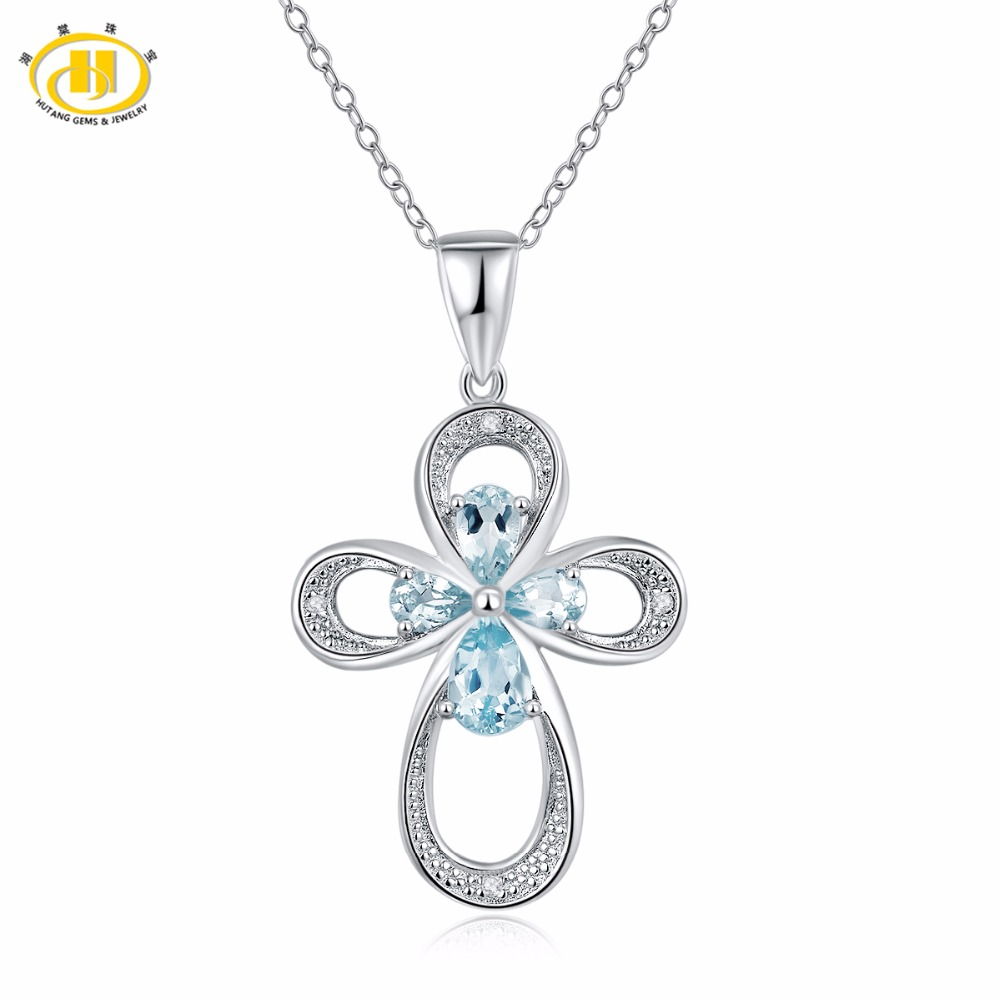 Hutang Diamond Jewelry Natural Gemstone Aquamarine Crosss Pendant Necklace Solid 925 Sterling Silver Fine Jewelry For