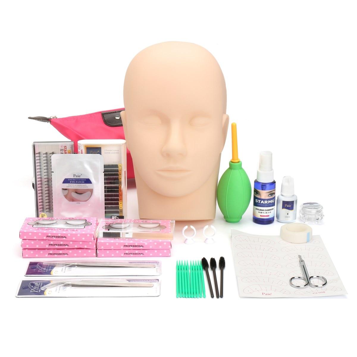 36 Stks Mannequin Training Hoofd Wimper Extension Praktijk Make Up Tool Kit Met Case Geselecteerd Materiaal