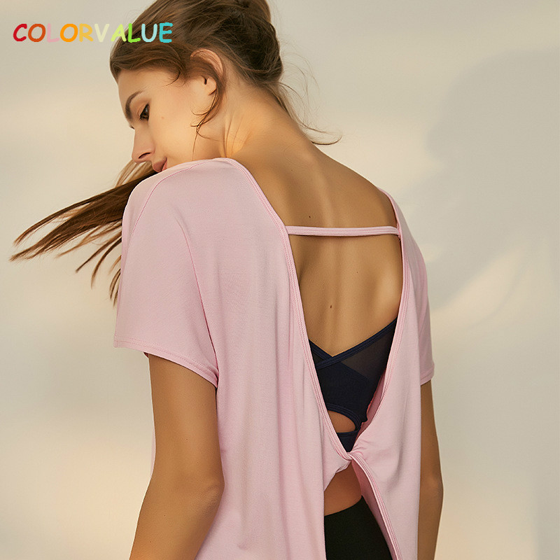 Colorvalue Quick Dry Modal Jogger Sport Short Sleeve Shirt Women Back Kink Yoga Workout Top Loose Solid Fitness Running T-shirt
