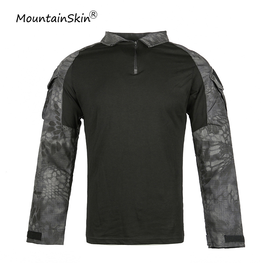 Tops & Tees Mountainskin Mens Military Tactical Full Sleeves T-shirts Fitness Casual Camouflage T-shirt Army Lurker Frog Suit Brand La651 Bright Luster
