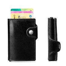 Wholesale Genuine Leather ID Card Holders Holder RFID Aluminium Vintage Credit With Blocking Mini Wallet