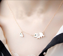 Cute Elephant Family Stroll Design Fashion Women Charming Crystal Chain Necklace Chocker necklace