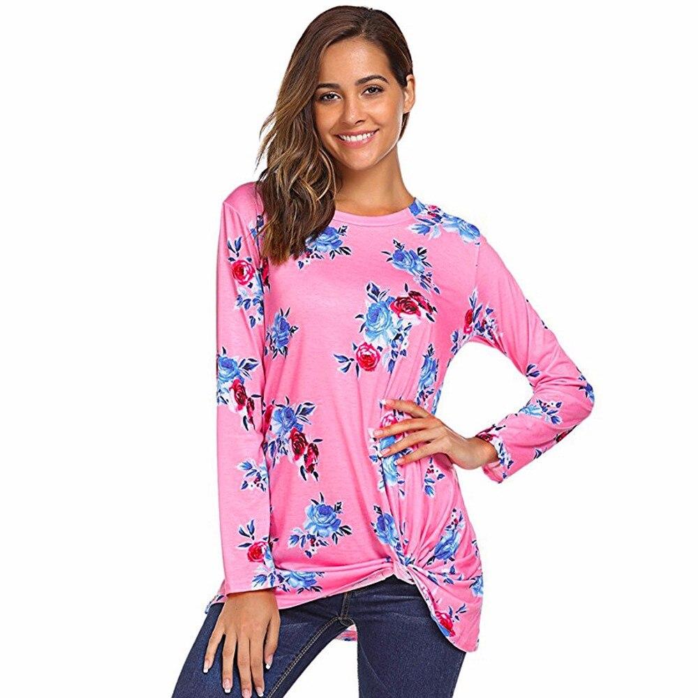 Дамы с длинным рукавом Футболка с цветочным принтом Рубашки для мальчиков Для женщин осень Повседневное свободная футболка Топы корректир...