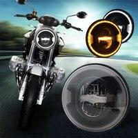 7 дюймовый мотоцикл светодиодный фар руль автомобиля фары 6500 K H4 H13 35 W с угла глаза высокая низкая луча для Honda Yamaha