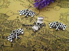 20pcs- Antique Tibetan Silver Checkered Flags Charms Pendants, DIY Supplies, Jewelry Making 12x22mm(China)