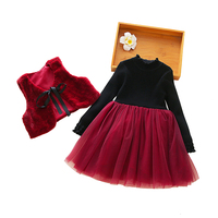 2019 new spring knit tulle 2pcs set dresses age 3 12 yrs baby girls long sleeve dress+faux fur vest party frocks for little girl
