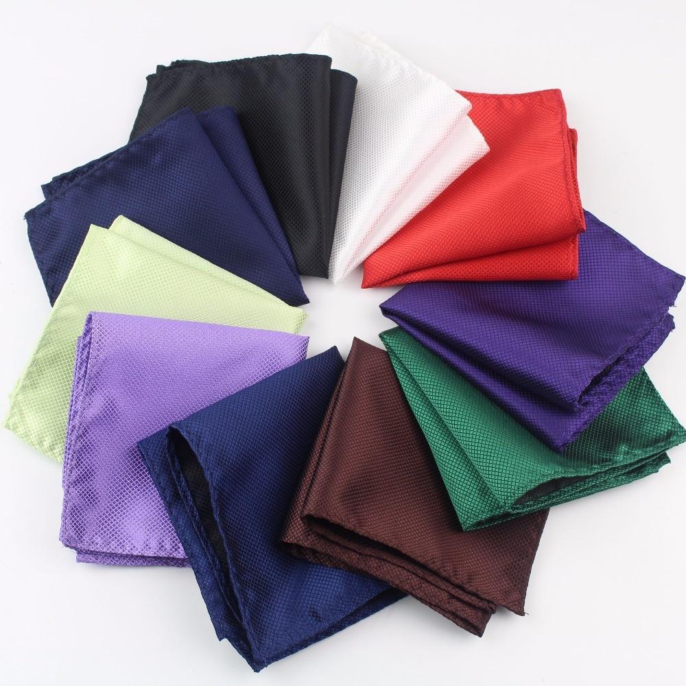 Solid Color Vintage Fashion Party Men's Handkerchief Groomsmen Men Polyester Plaid Pocket Square Hanky Handkerchiefs No.1-20