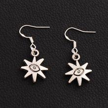 цена на 30pairs Antique Silver Evil Eye Sun Lucky Earrings 925 Silver Fish Ear Hook Chandelier E106 36.4x14.3mm