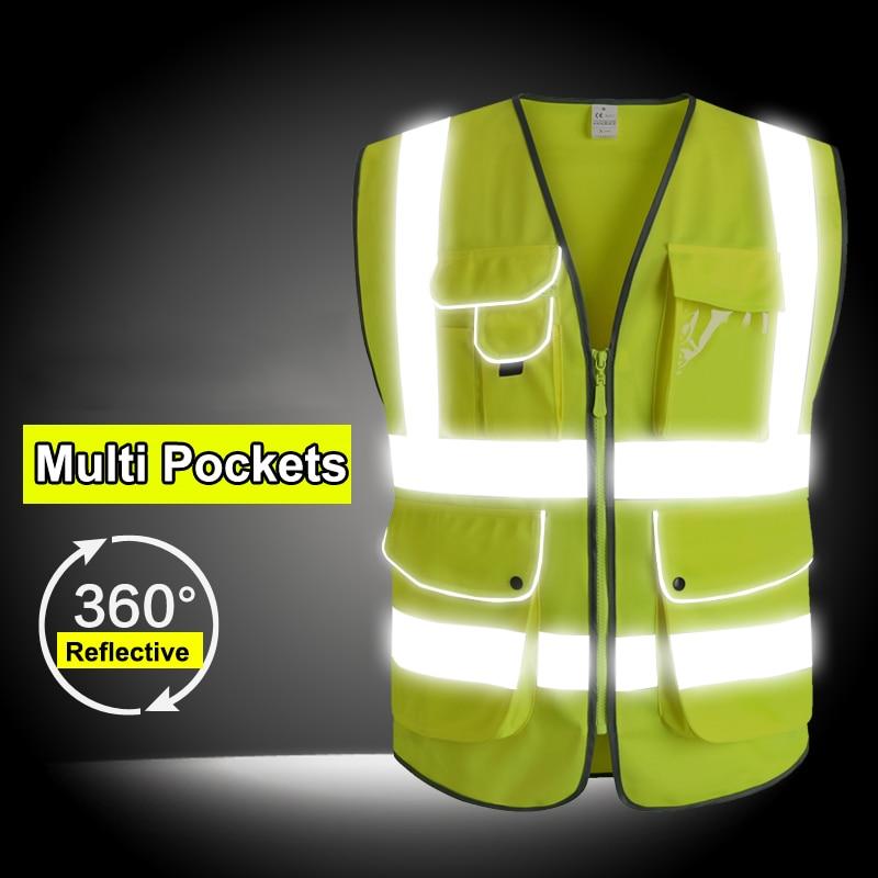 EN 20471 ANSI/SEA High Visibility Zipper Front Safety Vest With Reflective Strips construction safety reflective vest цена 2017