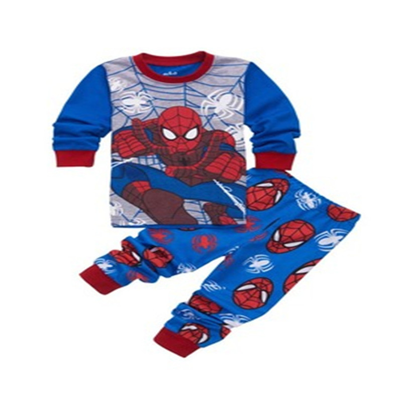 Kids Pajama Set cosplay Spiderman Boys Sleepwear 2-7 Years Girls Childrens pyjama T-shirt + Pants Baby Girl/Boy costume Set