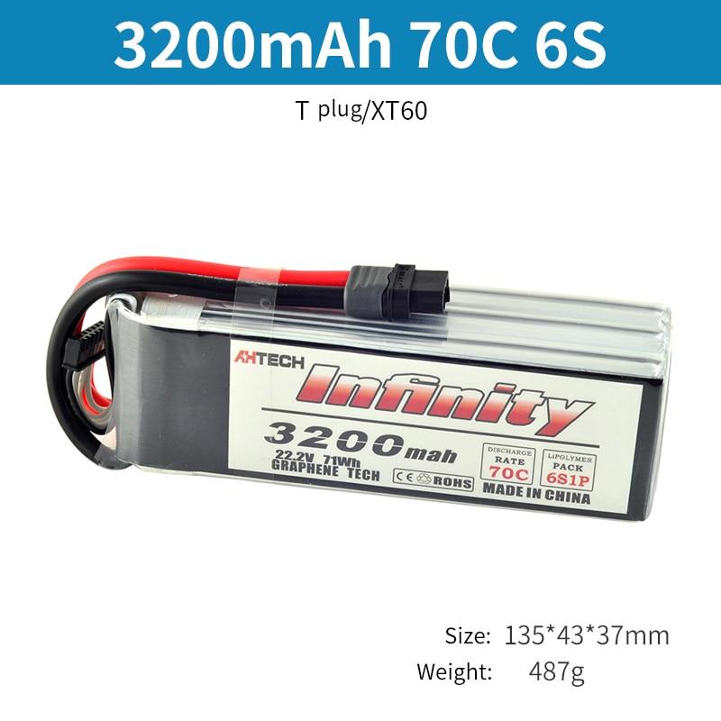 Infinity 6 S LiPo Batterij 70C 3200 mAh 4200 mAh 5200 mAh 22.2 V Met T of XT60 Plug Connector RC Lipo Batterij-in Onderdelen & accessoires van Speelgoed & Hobbies op  Groep 2