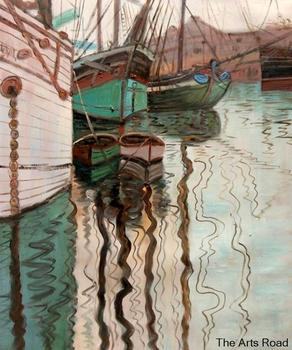 Wall Art Paintings for Living Room Harbor of Trieste, 1907 Egon Schiele Canvas Painting Abstract Landscape Art