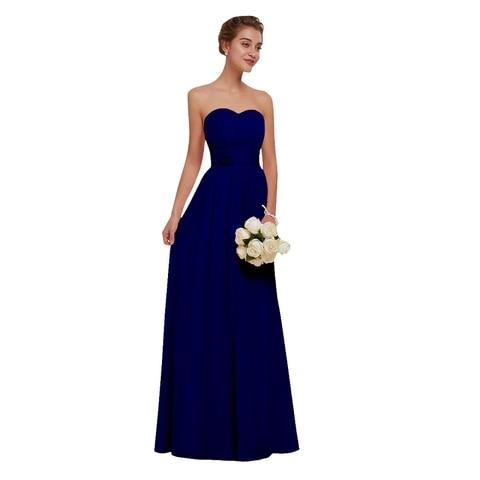Royal Blue Chiffon Bridesmaid Dresses 2019 Long for Women Plus Size A-Line Sleeveless Wedding Party Prom Dresses Beauty Emily Lahore
