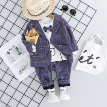 2019 Autumn Toddler Boys Clothes Suits Children Baby Clothing Set Plaid Coat +T Shirt+Pants Sets Infant Kids Costume Suit цена в Москве и Питере
