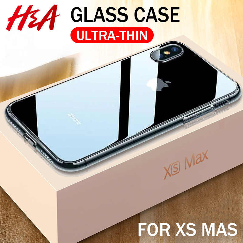 H & EEN Luxe Glas Case Voor iPhone XS MAX XR X Gevallen Ultra Dunne Transparante Back Glass Cover Case voor iPhone XS MAX Clear Coque