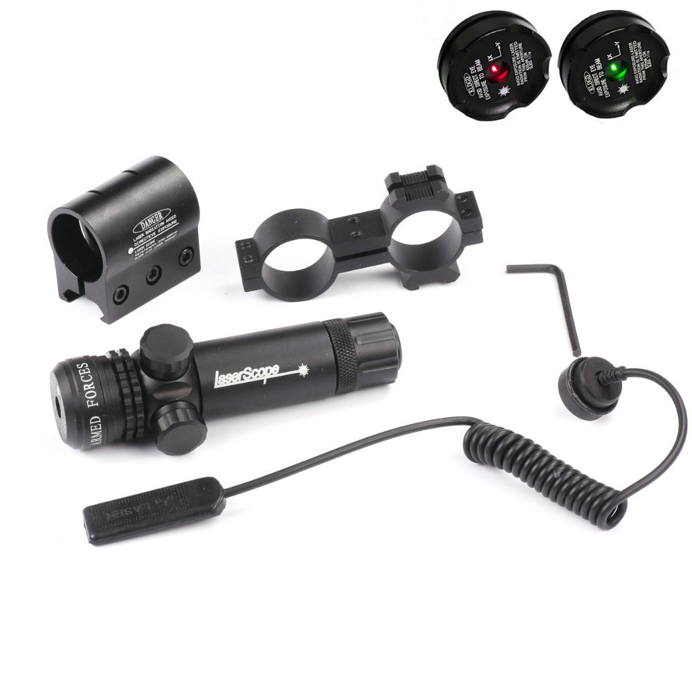 Tactical Hunting Green / Red Dot Laser Sight Gun Scope Rifle Hunting Airsoftsport 20mm Rail & Barrel Mount Cap Pressure Switch