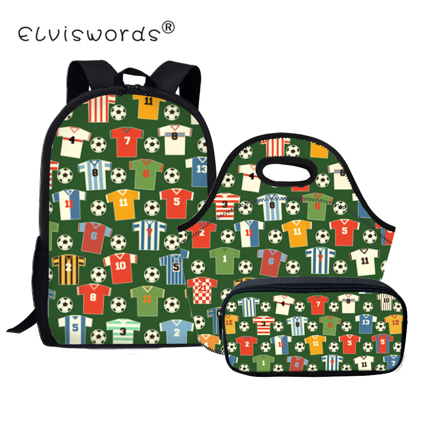 Boys School Bags Set Students 3pcs Food & Pen Bags for Girls Bookbag with Lunchbags Pencil Bag Primary Schoolbag Foot ball 2018
