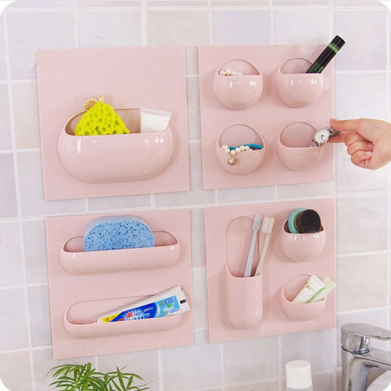 Kitchen Bathroom Storage Rack Wall Mount Cup Storage Holder Repeatable Self-adhesive Home Organizer Storage Shelf