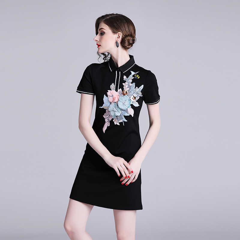 HAMALIEL/Новинка 2019, летнее женское платье с коротким рукавом, дизайнерское Бархатная мини-юбка с вышивкой, модное платье с отложным воротником, Vestido