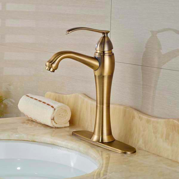 Deck Mounted Bathroom Basin Faucet Antique Bronze Vessel Sink Mixer Tap Hot and Cold Water with Hole Cover Plate stirring motor driven single deck chemical reactor 20l glass reaction vessel with water bath 220v 110v with reflux flask