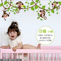 Best Selling Animals Living Room Cute Kids Baby Jungle Monkey Tree Wall Sticker Nursery Decal Removable Art Decor Decals