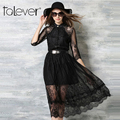 2016 primavera outono elegante do laço das mulheres dress longqibeauty moda turn-down collar escavado three quarter manga longa dress