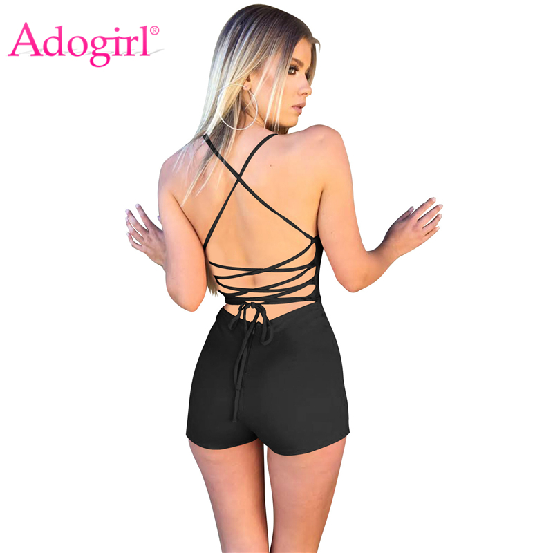 Adogirl Sexy Lace Up Backless Women Jumpsuit V Neck Sleeveless Spaghetti Straps Romper Solid Playsuits Night Club Bodysuits