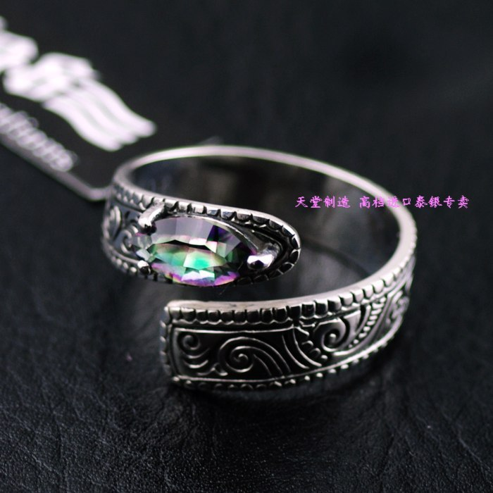 925 sterling silver colorful quartz stone stone wall image embossed adjustable fashion ring colorful stone wall print tapestry wall hanging art