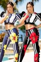 Women Two Piece Set Print Tracksuit Full Length 2 Piece Set Tracksuit Crop Top Pants Outfit L5185