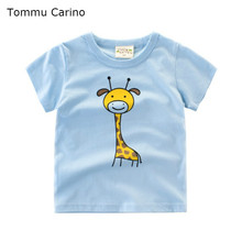 Cute Giraffe Printed Kids Boys Girls Tees Shirts 100% Cotton O-Neck T-shirt Comfortable Baby Boy 2 to 10 Years Clothes for teens