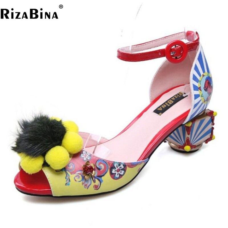 RizaBina Size 34-43 Vintage Women Genuine Leather High Heel Sandals Peet Toe Flower Alien Thick Heel Sandals Summer Women Shoes simon peet костюм