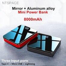 8000mAh UV Mirror Aluminium Alloy Portable Mini Power Bank 2.1A Fast Charging Dual USB Powerbank Quick Treasure