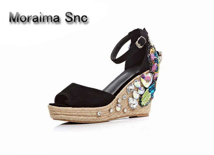 Moraima Snc women sandals black peep toe ladies shoes Bohemia bling wedges girls shoes butterfly platform high heels shoes women moraima snc gladiator shoes black peep toe women wedges shoes color crystal butterfly knot platform high heels sandals women