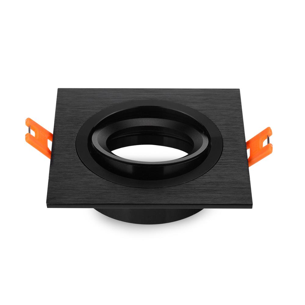 Black Recessed Square Downlight Holder Adjustable Frame 9x9cm For LED GU10 MR16